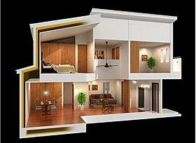断熱を包み込む外断熱の家。