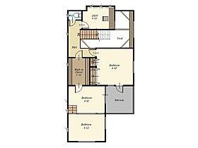 2階には書斎スペースやスッキプフロア仕様の洋室