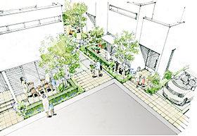 住まいの内と外を繋ぎ、新しい交流が生まれる街角テラス。