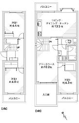 2-3階メゾネットタイプの南向き3LDKです。各洋室は6帖以上、フリースペースが約10.2帖あります。WICとクローゼット2か所、階段下と収納も豊富なゆとりある間取りです。