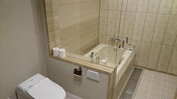 マンション(建物一部)-新宿区市谷左内町 浴室も高級感と清潔感に溢れております。浴室横にトイレも完備(本物件にはこのトイレの他もう1つトイレがございます)
