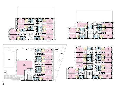 マンション(建物全部)-習志野市津田沼2丁目 1階から4階の各階平面図です。1階の2室は店舗・事務所仕様です。