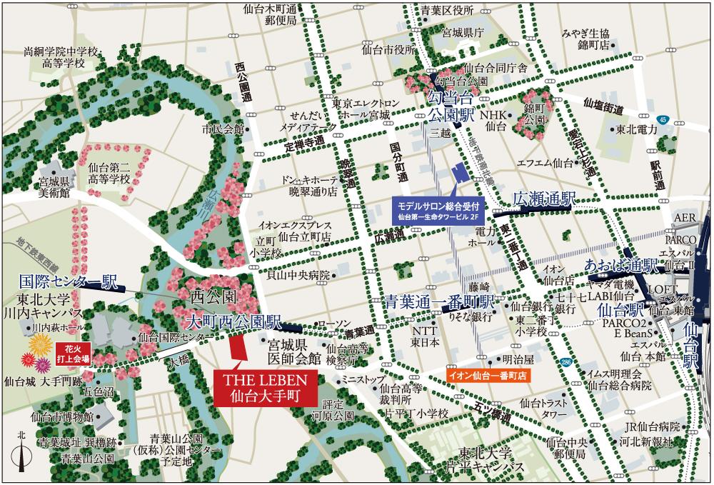 THE LEBEN 仙台大手町:案内図