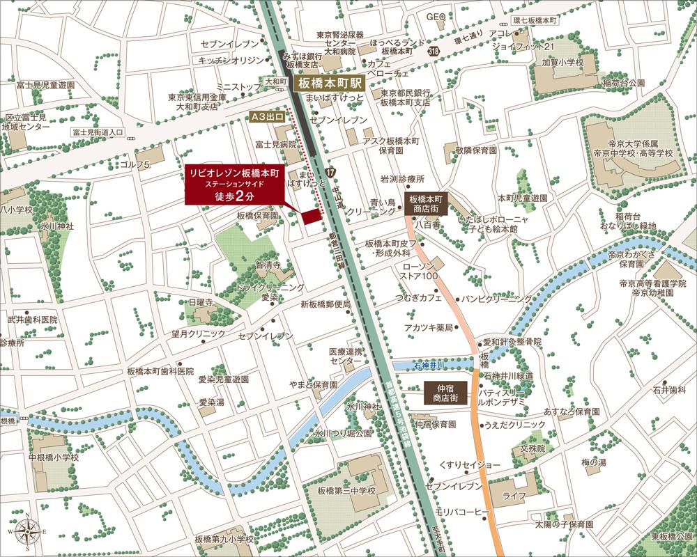 リビオレゾン板橋本町ステーションサイド:案内図