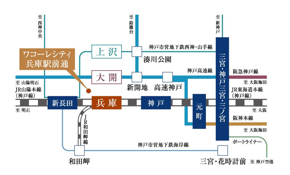 ワコーレシティ兵庫駅前通:交通図