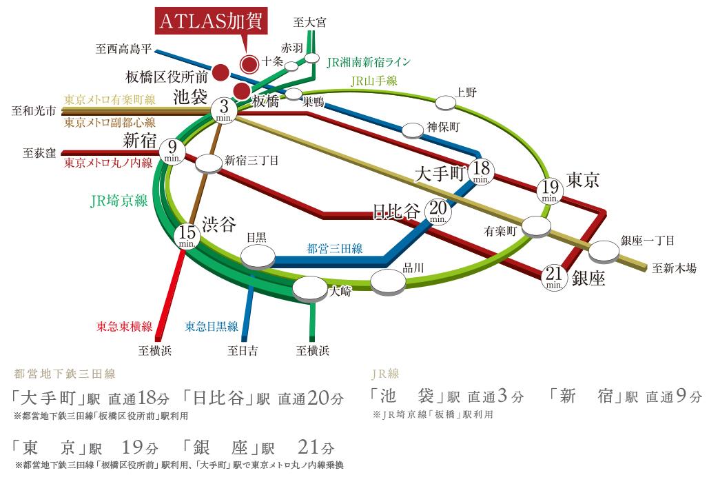 アトラス加賀:交通図