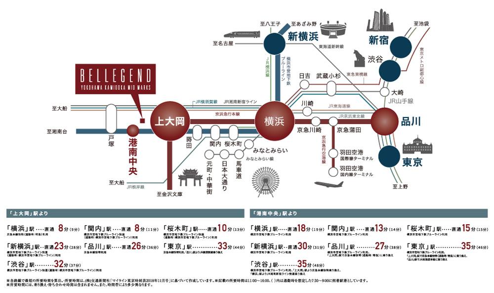 ベルジェンド横濱上大岡ミッドマークス:交通図