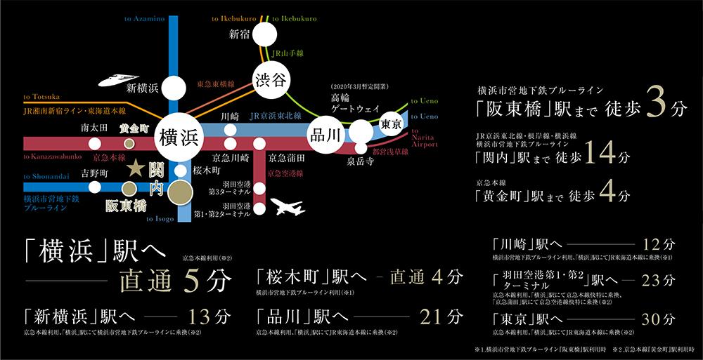 ベルジェンド横濱伊勢佐木アティックス・アべニュー:交通図