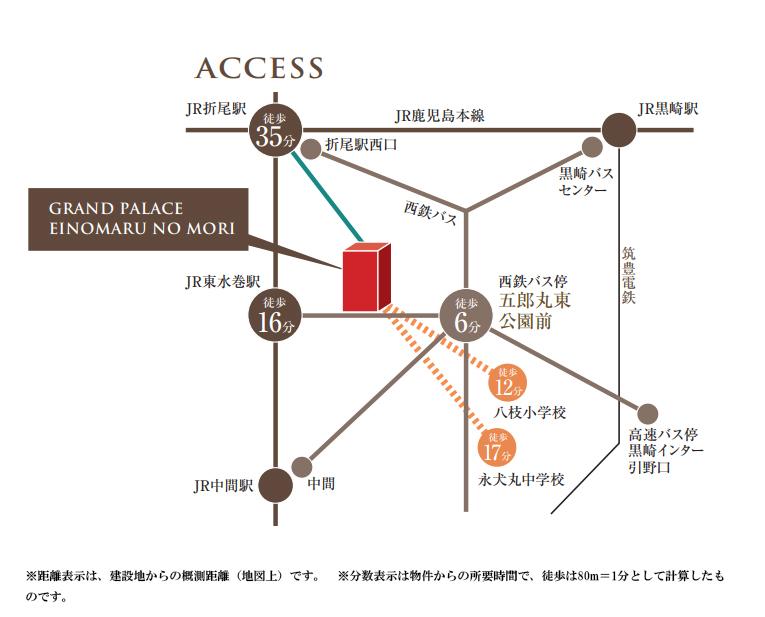 グランドパレス永犬丸の森:交通図