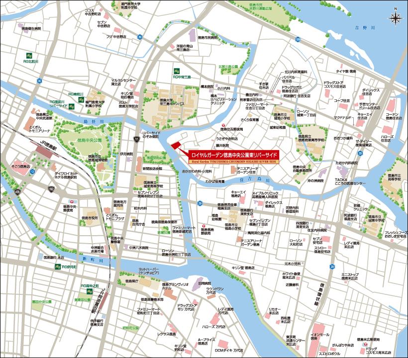 ロイヤルガーデン徳島中央公園東リバーサイド:案内図