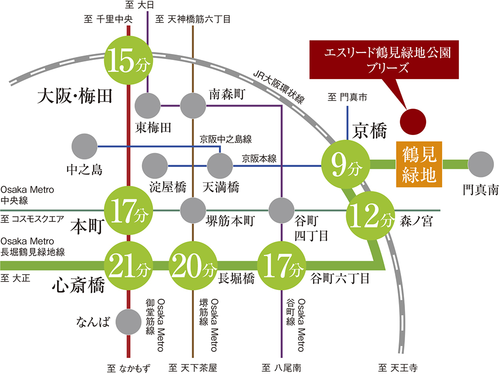 エスリード鶴見緑地公園:交通図