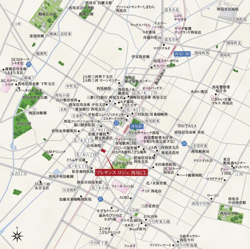プレサンス ロジェ 西尾CL:案内図