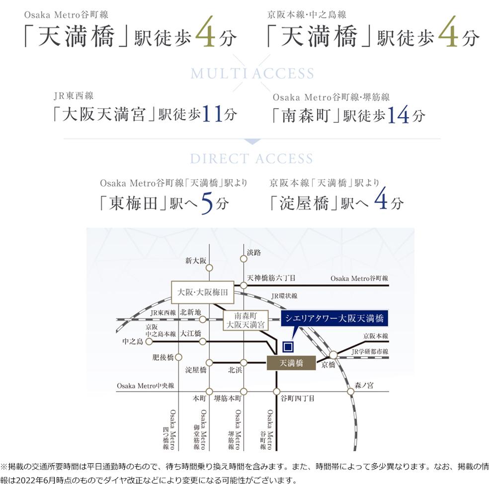 シエリアタワー大阪天満橋:交通図