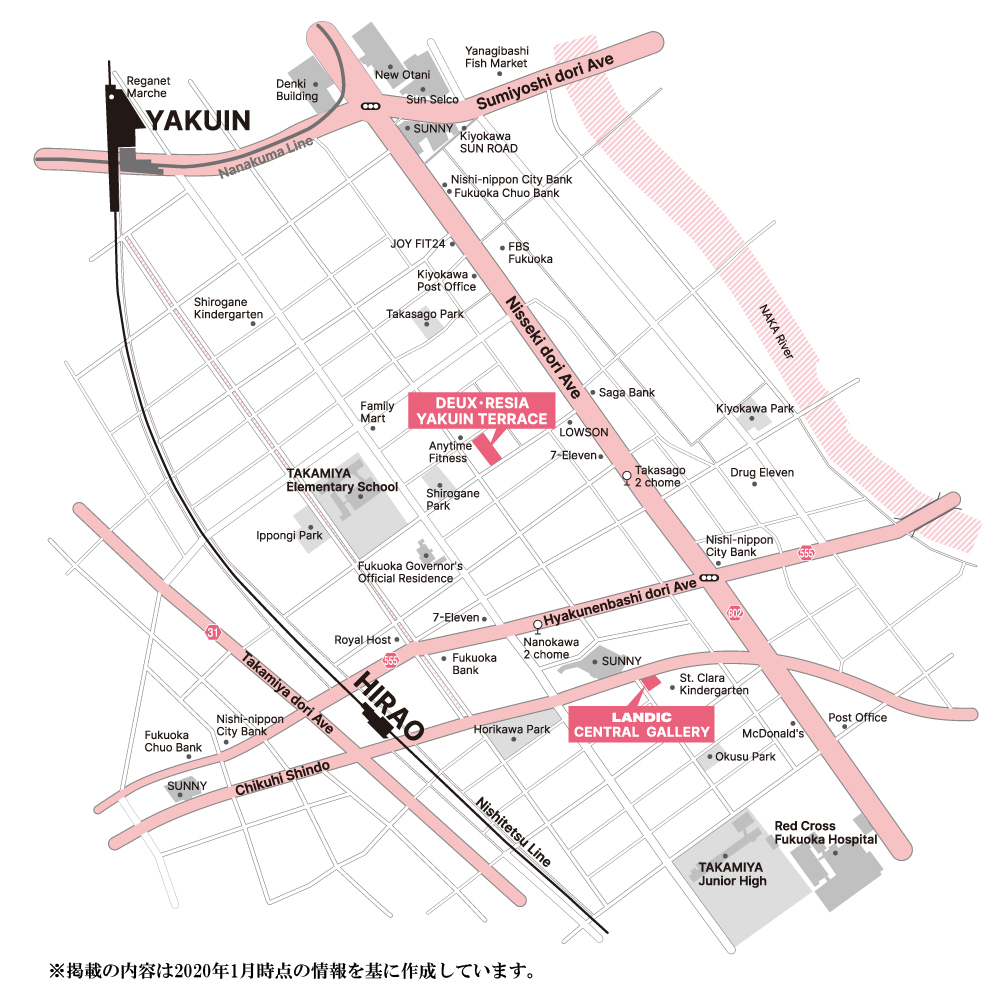 デュ・レジア 薬院テラス:モデルルーム地図