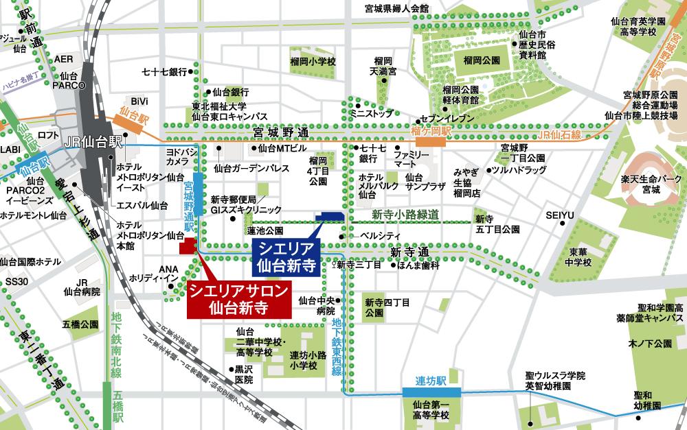 シエリア仙台新寺:モデルルーム地図