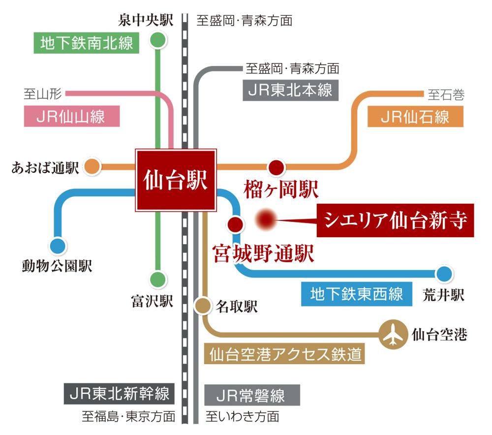 シエリア仙台新寺:交通図