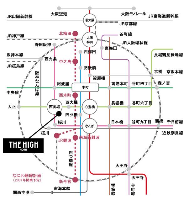 THE HIGH HORIE:交通図