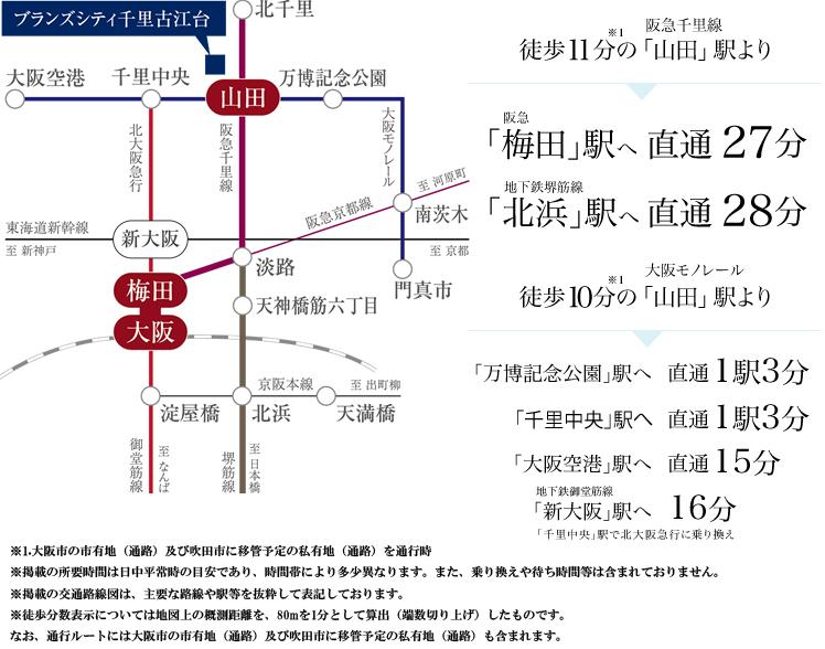 ブランズシティ千里古江台:交通図