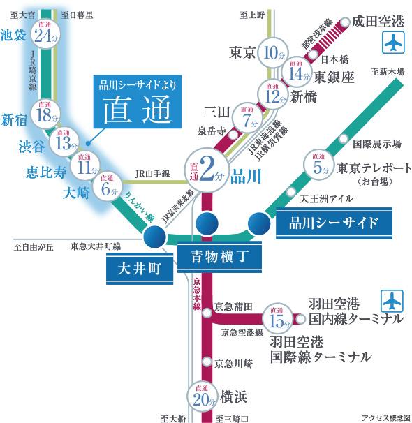 プライムパークス品川シーサイドザ・タワー:交通図
