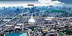 航空写真 ※現地周辺より大手町方面を撮影(平成28年3月)した航空写真にCG加工処理を施したもので、実際とは異なります。現地の位置を表現した光は建物の規模や高さを示すものではありません。