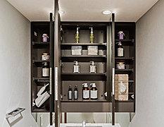 三面鏡の裏には、コスメ用品がたっぷり収納できる物入れを設置。いつでもすっきりとした洗面空間を保つことができます。