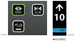 ペットが同乗していることを知らせる「ペットボタン」を採用。このボタンが押されると各階乗場に「ペット同乗中」が表示されます。
