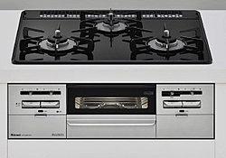 熱や衝撃にも強いガラストップコンロ。フラットで天板が汚れてもサッと拭き取れます。水無し両面焼きをはじめ調理が楽しくなる多彩な機能も搭載しています。