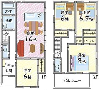 ゆとり・開放感のある2階建てです。天井高2.6mですので、開放感たっぷりです。リビング隣の6帖洋室と合わせると22帖の開放感・ゆとりある空間になります。