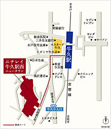 """ニチレイ牛久駅西ニュータウン """"駅徒歩6分 全118区画"""":案内図"""