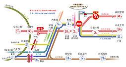 <フォレストサイドV>JR津田沼駅 高台平坦地 42坪 土地・建物3,953万円~:交通図