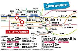 積水ハウス 川越大塚 刻のめぐみ【建築条件付土地】:交通図
