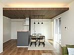 施工例:1階天井高2700mm、キッチンの下がり天井と間接照明(標準仕様)