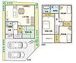 3号地プラン 駐車スペース2台。LDKと和室をつなげると約20帖と広々とお使いいただけます。