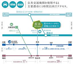 茨木サニータウン宅地分譲(建築条件なし)宅地69坪以上。1,680万円(229.72m2)~:交通図
