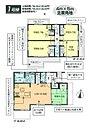 *3号棟:LDK18.5帖の広々プラン。1階洋室2部屋は繋げれば10.5帖もの主寝室に。
