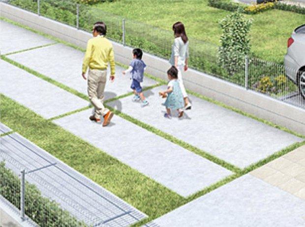 【【23号棟】その他画像】【緑化駐車場】駐車スペースは、コンクリートと緑が交互に配置されたデザインを施し、車を停めていない時にも美観を保ちます。
