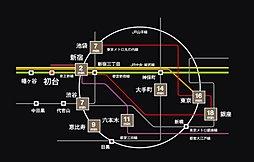 【東証一部上場グローバル社グループの新築戸建】キャスティア渋谷区本町3期:交通図