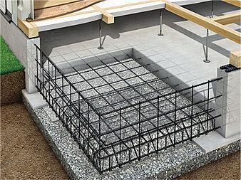 ベタ基礎を標準採用。コンクリートは、高耐久性と強度を確保、鉄筋は徹底管理した工場で溶接・加工されたユニット鉄筋を採用。建物をしっかり支え地震の揺れにも耐える強固な家づくりを実現しています。