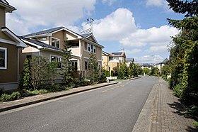 広く確保された歩行者専用道路でゆったりとした街並みです。