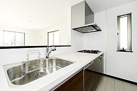 食洗器の付いたスタイリッシュなシステムキッチン。