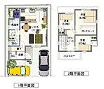3LDK間取りでリビング17帖以上あります。 1階2階共に収納を多く取り入れています。お子様の勉強できるスペースを2階に設けました!