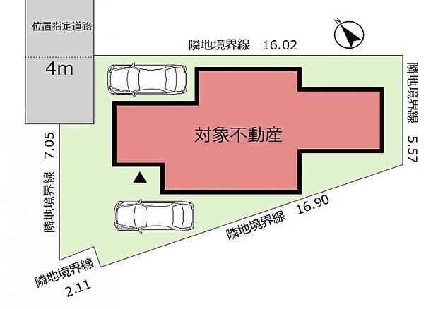 《配置図》土地面積50坪以上の広さ!駐車位置はイメージです。
