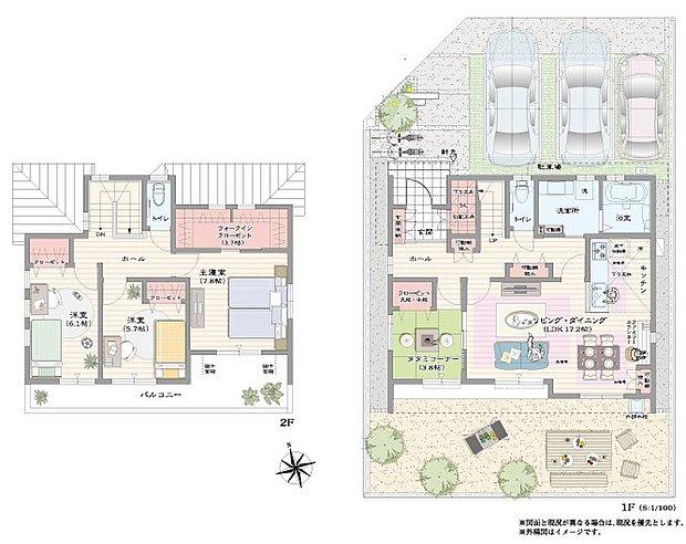 【4LDK】降り注ぐ日差しに恵まれた全居室南向きの家  客間やお子様の遊び場としても重宝するタタミコーナー 2階主寝室には3.7帖の大型ウォークインクローゼット 駐車スペース3台分