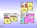 4LDK、土地面積70.56m2、建物面積102.26m2 Layout 全居室ゆったりとした居室スペースを確保し、2階水回り集中設計でプランニングされた家事動線良好な間取り設計。