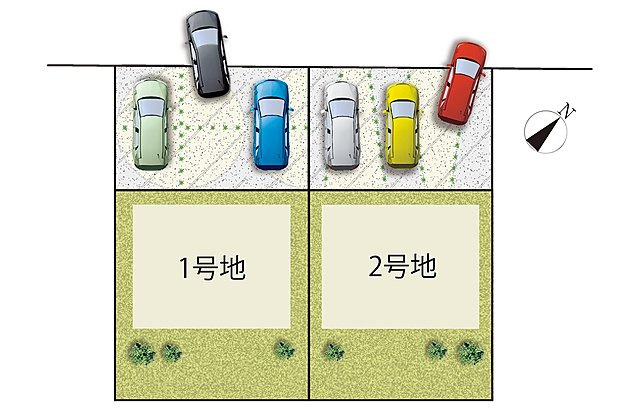 【全体区画図】 並列駐車3台可!(^^)!