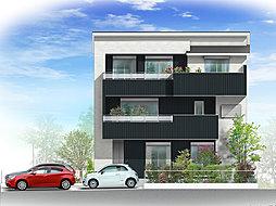 都会的なスクエアフォルムを印象付ける個性的&ハイセンスなカラーリング。クールモダンな外観デザインです。 光溢れる3階建・5LDK、全居室南向きの邸宅。(T-1)
