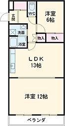 名古屋市営名城線 名古屋大学駅 徒歩14分の賃貸マンション 3階2LDKの間取り