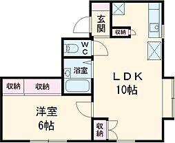 ガーデントキワ1 1階1LDKの間取り