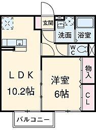 名鉄小牧線 味鋺駅 徒歩6分の賃貸アパート 1階1LDKの間取り
