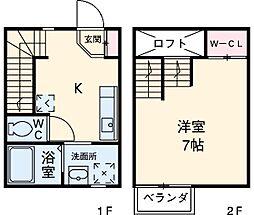 Cerisier 1階1Kの間取り